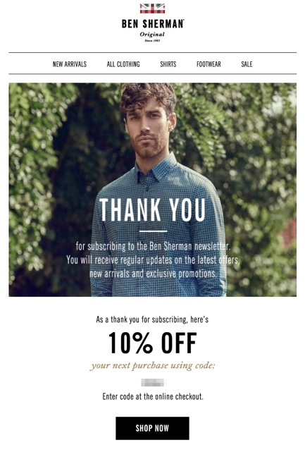 Ben Sherman welcome emails