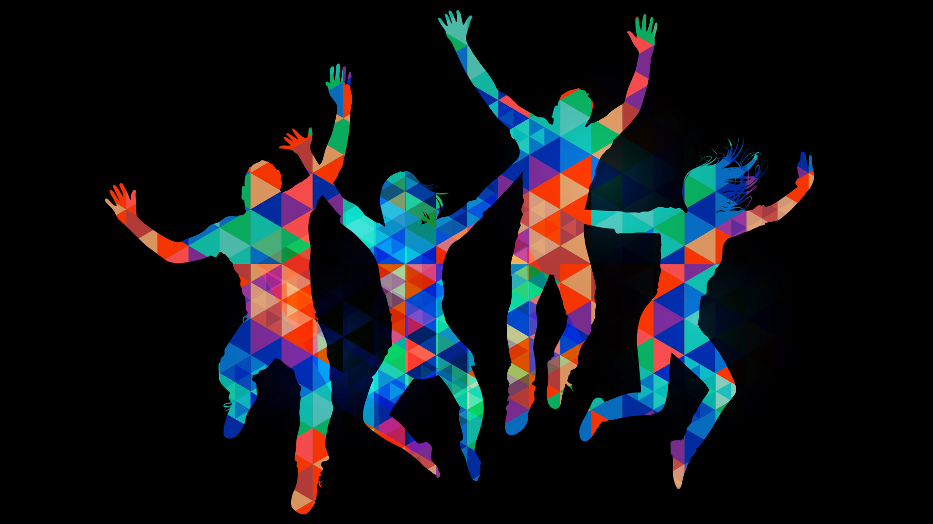 multicoloured people dancing