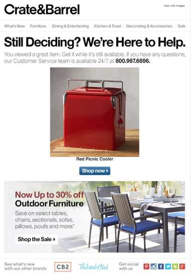 Crate&Barrel overt personalization