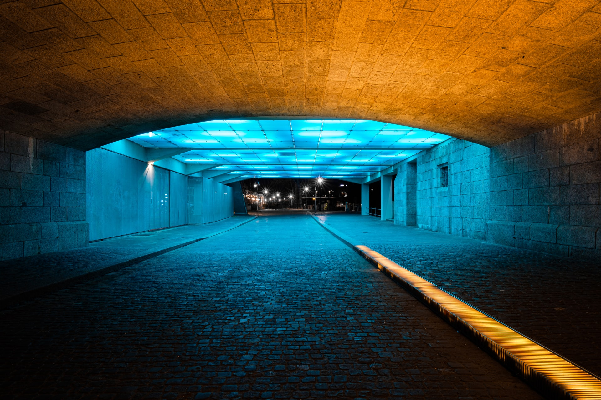 yellow, blue and black tunnel